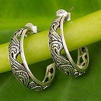 Sterling silver half hoop earrings, 'Moon in the Forest'