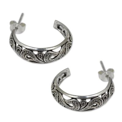 Handmade Sterling Silver Half Hoop Earrings