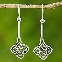Sterling silver dangle earrings, 'Tiger Lily' - Handcrafted Sterling Silver Dangle Earrings from Thailand