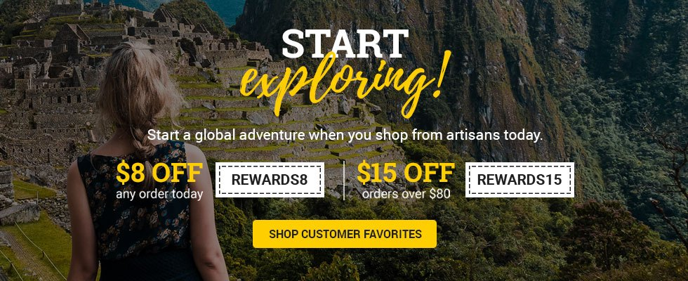 Start a global adventure with $8 off any order (REWARDS8) or $15 off $80+ (REWARDS15)